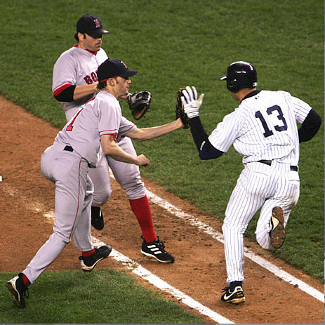 A-Rod and Bronson Arroyo Game 6 2004 ALCS.jpg